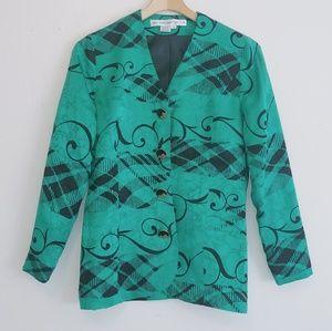 Vintage silk vibrant blazer jacket